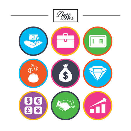 Money, cash and finance icons. Handshake, safe and currency exchange signs. Chart, case and jewelry symbols. Classic simple flat icons. Vector Stock Vector - 78274404