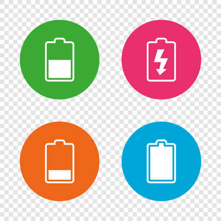 Battery charging icons. Electricity signs symbols. Charge levels: full, half and low. Round buttons on transparent background. Vector Illusztráció