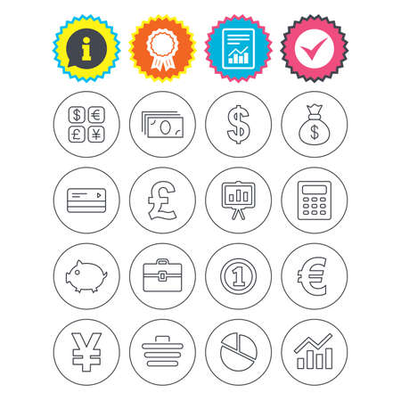 Report, information and award signs. Money and business icons. Cash and cashless money. Usd, eur, gbp and jpy currency exchange. Presentation, calculator and shopping cart symbols. Check tick symbol