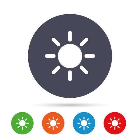 Sun sign icon. Solarium symbol. Heat button. Round colourful buttons with flat icons. Vector Illustration