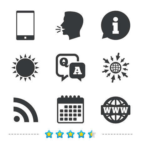 Question answer icon.  Smartphone and Q&A chat speech bubble symbols. RSS feed and internet globe signs. Communication Information, go to web and calendar icons. Sun and loud speak symbol. Vector