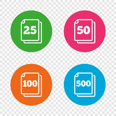In pack sheets icons. Quantity per package symbols. 25, 50, 100 and 500 paper units in the pack signs. Round buttons on transparent background. Vector