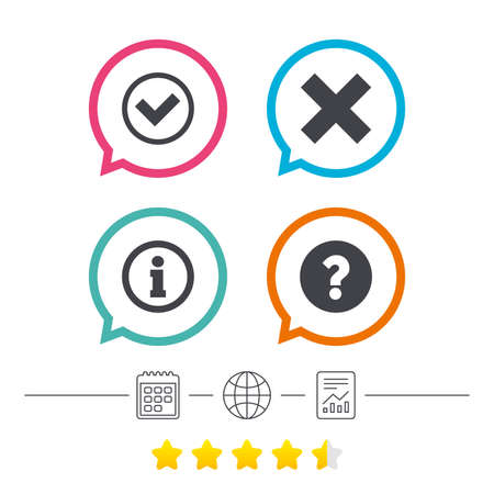 Information icons. Delete and question FAQ mark signs. Approved check mark symbol. Calendar, internet globe and report linear icons. Star vote ranking. Vector