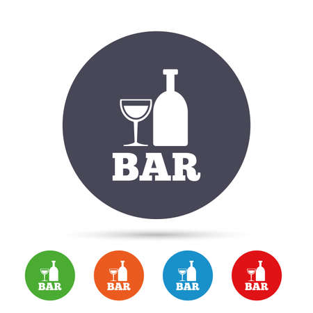 Bar or Pub sign icon. Wine bottle and Glass symbol. Alcohol drink symbol. Round colourful buttons with flat icons. Vector Çizim
