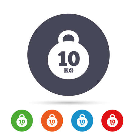 Weight sign icon. 10 kilogram (kg). Sport symbol. Fitness. Round colourful buttons with flat icons. Vector Illustration
