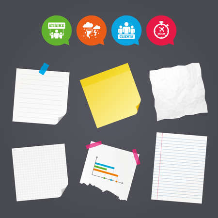 disaster: Business paper banners with notes. Strike icon. Storm bad weather and group of people signs. Delayed flight symbol. Sticky colorful tape. Speech bubbles with icons. Vector