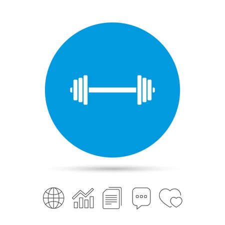 Barbell sign icon. Muscle lifting symbol. Copy files, chat speech bubble and chart web icons. Vector