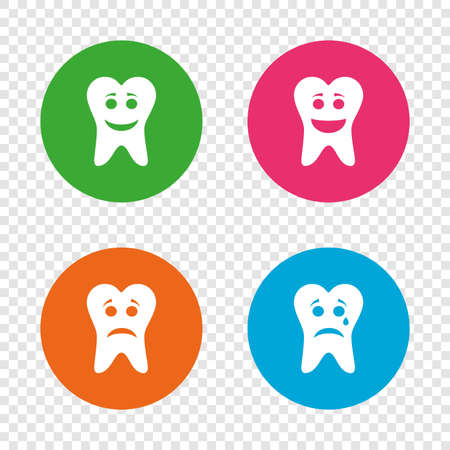 Tooth smile face icons. Happy, sad, cry signs. Happy smiley chat symbol. Sadness depression and crying signs. Round buttons on transparent background. Vector