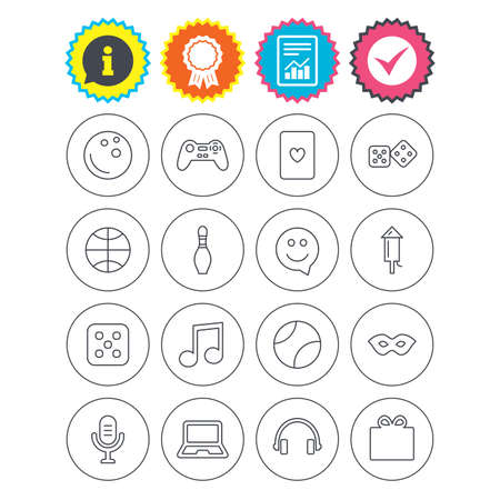 Report, information and award signs. Entertainment icons. Game console joystick, notebook and microphone symbols. Poker playing card, dice and mask thin outline signs. Vector