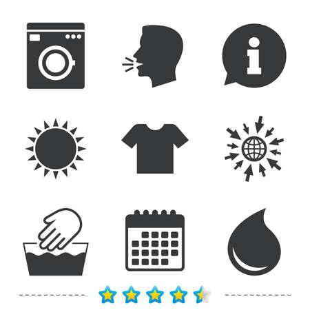 Waschen Maschine Symbol. Handwäsche. T-Shirt Kleidung Symbol. Waschküche und Wassertropfen Zeichen. Nicht maschinenwaschbar Informationen, gehen Sie zu Web- und Kalender-Icons. Sonne und laut sprechen Symbol. Vektor Vektorgrafik