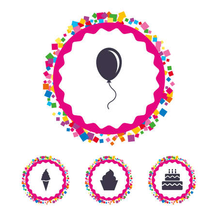 fire and ice: Web buttons with confetti pieces. Birthday party icons. Cake with ice cream signs. Air balloon with rope symbol. Bright stylish design. Vector