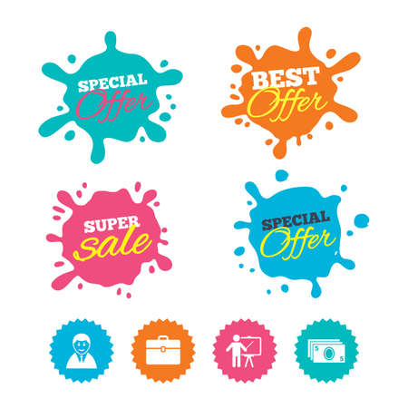 Best offer and sale splash banners. Businessman icons. Human silhouette and cash money signs. Case and presentation symbols. Web shopping labels. Vector Иллюстрация