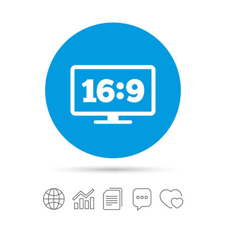 Aspect ratio 16:9 widescreen tv sign icon. Monitor symbol. Copy files, chat speech bubble and chart web icons. Vector
