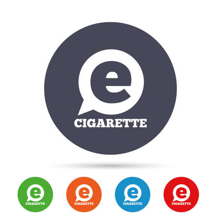 Smoking sign icon. E-Cigarette symbol. Electronic cigarette. Round colourful buttons with flat icons. Vector