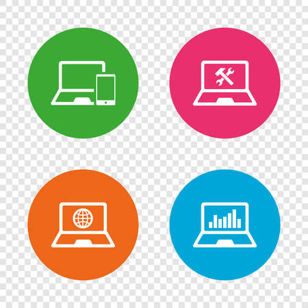 Notebook laptop pc icons. Internet globe sign. Repair fix service symbol. Monitoring graph chart. Round buttons on transparent background. Vector Illustration