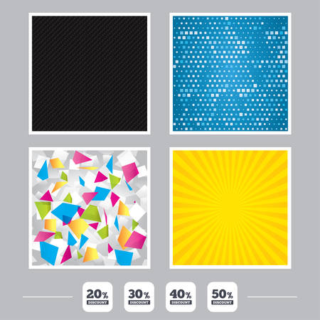 Carbon fiber texture. Yellow flare and abstract backgrounds. Sale discount icons. Special offer price signs. 20, 30, 40 and 50 percent off reduction symbols. Flat design web icons. Vector Çizim