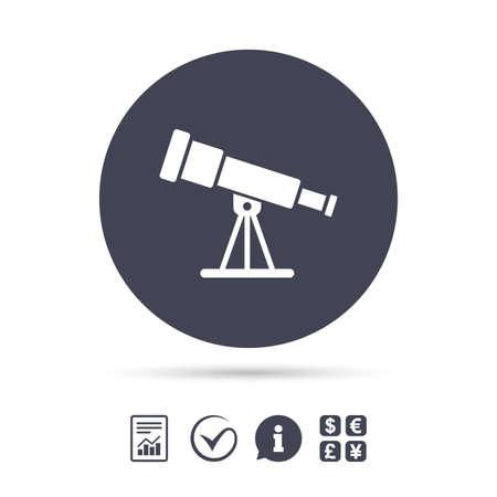 望遠鏡のアイコン。スパイグラス ツール記号です。ドキュメント、情報をレポートし、目盛りのアイコンをチェックします。外貨両替。ベクトル