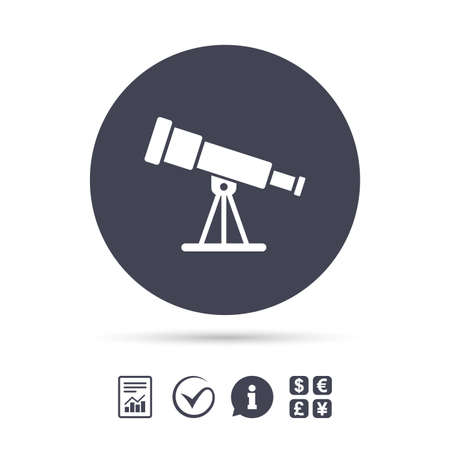 Telescope icon. Spyglass tool symbol. Report document, information and check tick icons. Currency exchange. Vector Ilustração