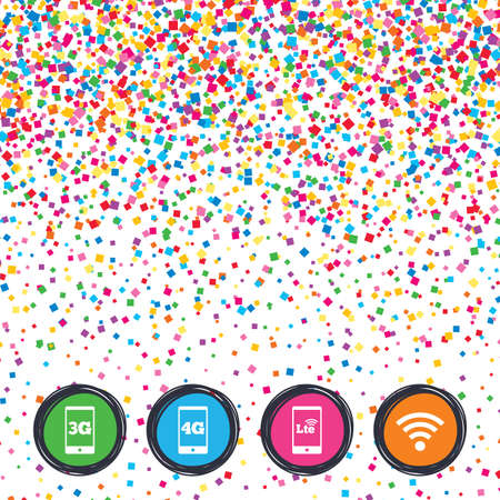 Web buttons on background of confetti. Mobile telecommunications icons. 3G, 4G and LTE technology symbols. Wi-fi Wireless and Long-Term evolution signs. Bright stylish design. Vector
