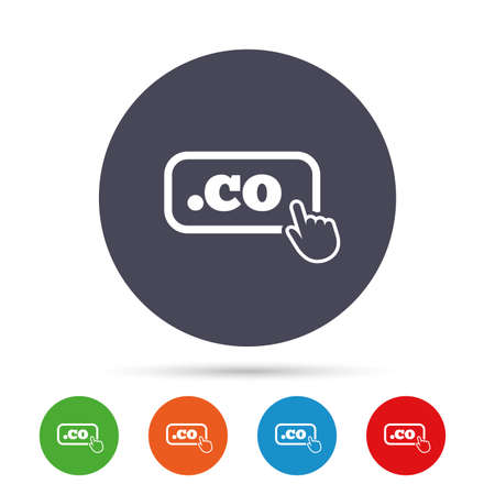 Domain CO sign icon. Top-level internet domain symbol with hand pointer. Round colourful buttons with flat icons. Vector Illustration