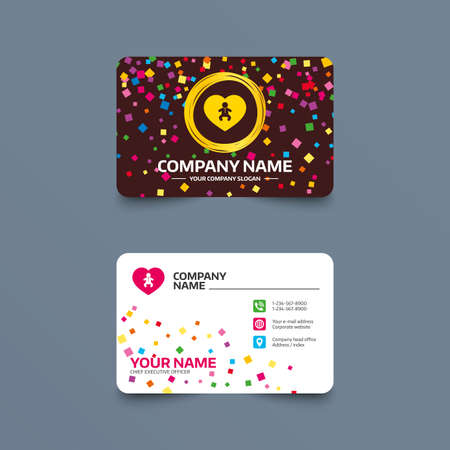 Business card template with confetti pieces. Love Baby infant sign icon. Toddler boy in pajamas or crawlers body symbol. Child WC toilet. Phone, web and location icons. Visiting card  Vector