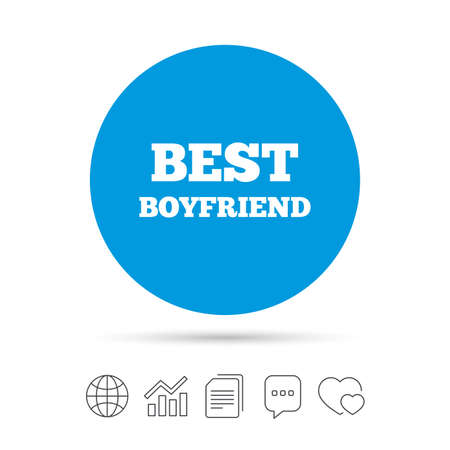 Best boyfriend sign icon. Award symbol. Copy files, chat speech bubble and chart web icons. Vector Illustration