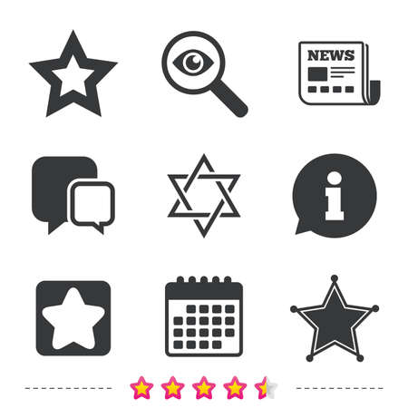 Star of David icons. Sheriff police sign. Symbol of Israel. Newspaper, information and calendar icons. Investigate magnifier, chat symbol. Vector Ilustração