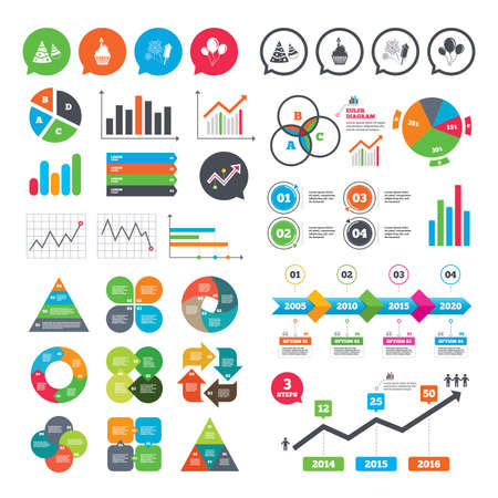Business charts. Growth graph. Birthday party icons. Cake, balloon, hat and muffin signs. Fireworks with rocket symbol. Cupcake with candle. Market report presentation. Vector