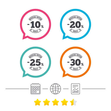 Sale discount icons. Special offer stamp price signs. 10, 20, 25 and 30 percent off reduction symbols. Calendar, internet globe and report linear icons. Star vote ranking. Vector Çizim