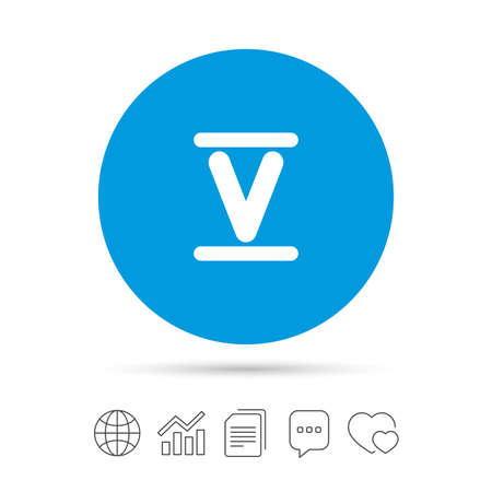 Roman numeral five sign icon. Roman number five symbol. Copy files, chat speech bubble and chart web icons. Vector Illustration