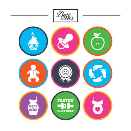 Pregnancy, maternity and baby care icons. Apple, award and pacifier signs. Footprint, birthday cake and newborn symbols. Classic simple flat icons. Vector 向量圖像