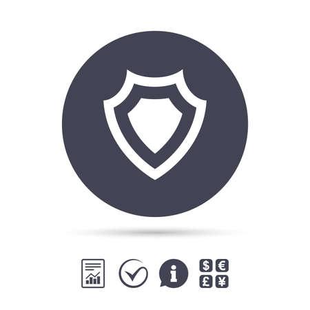 シールドの記号のアイコン。保護のシンボルです。ドキュメント、情報をレポートし、目盛りのアイコンをチェックします。外貨両替。ベクトル