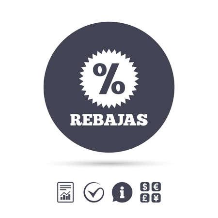 Rebajas - Kortingen in Spanje teken pictogram. Ster met percentagesymbool. Rapporteer document, informatie en vink pictogrammen aan. Wisselkantoor. Vector