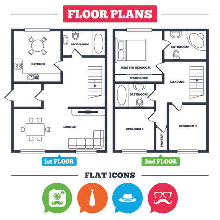 Architecture plan with furniture. House floor plan. Hipster photo camera with mustache icon. Glasses and tie symbols. Classic hat headdress sign. Kitchen, lounge and bathroom. Vector