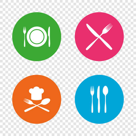 Assiette plat avec fourchettes et couteaux icônes. toque signe . crosswise signe de l & # 39 ; icône. boutons de cercles plat sur fond plat . vecteur Banque d'images - 78274786