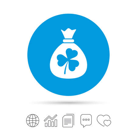 patrick: Money bag with three leaves clover sign icon. Saint Patrick trefoil shamrock symbol. Copy files, chat speech bubble and chart web icons. Vector Illustration