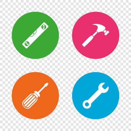 Schraubenzieher und Schraubenschlüssel Schlüssel Werkzeug Symbole . Bubble Level und Hammer Zeichen Symbole . Runde Knöpfe auf transparentem Hintergrund . Vektor Standard-Bild - 78274789