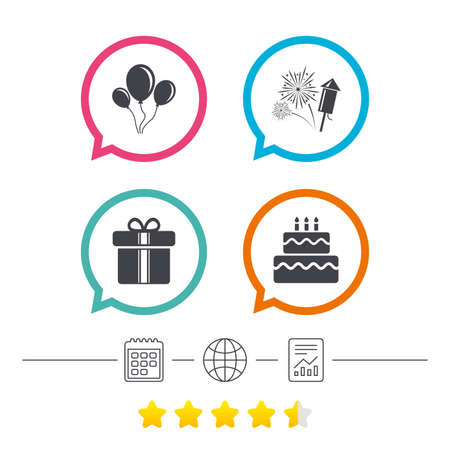 Birthday party icons. Cake and gift box signs. Air balloons and fireworks symbol. Calendar, internet globe and report linear icons. Star vote ranking. Vector Illustration