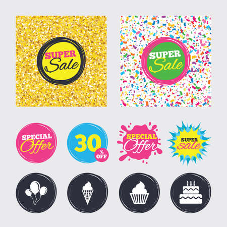 Gold glitter and confetti backgrounds. Covers, posters and flyers design. Birthday party icons. Cake with ice cream signs. Air balloons with rope symbol. Sale banners. Special offer splash. Vector Illustration
