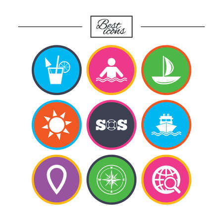 Cruise trip, ship and yacht icons. Travel, cocktail and sun signs. Sos, windrose compass and swimming symbols. Classic simple flat icons. Vector Çizim