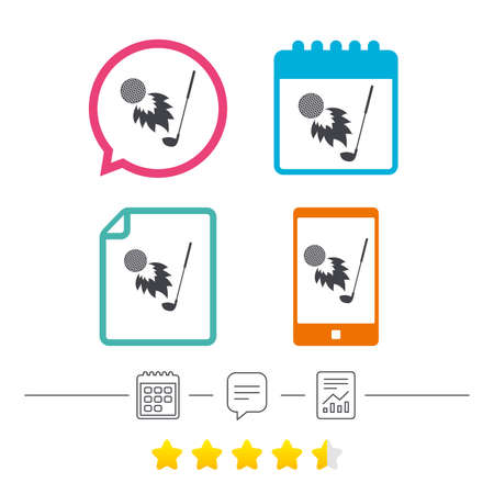 Golf fireball with club sign icon. Sport symbol. Calendar, chat speech bubble and report linear icons. Star vote ranking. Vector