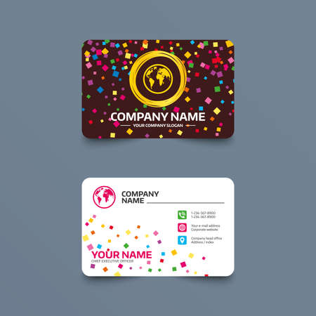 Business card template with confetti pieces. Globe sign icon. World map geography symbol. Phone, web and location icons. Visiting card  Vector Illustration