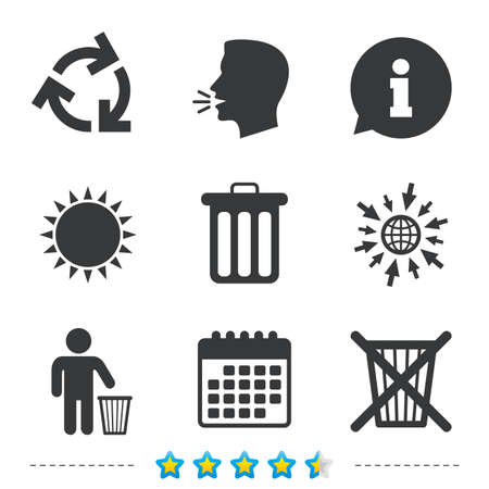 to refuse: Recycle bin icons. Reuse or reduce symbols. Human throw in trash can. Recycling signs. Information, go to web and calendar icons. Sun and loud speak symbol. Vector