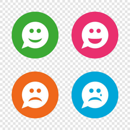 Speech bubble smile face icons. Happy, sad, cry signs. Happy smiley chat symbol. Sadness depression and crying signs. Round buttons on transparent background. Vector Illusztráció