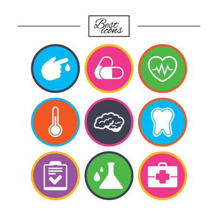 Medicine, healthcare and diagnosis icons. Tooth, pills and doctor case signs. Neurology, blood test symbols. Classic simple flat icons. Vector