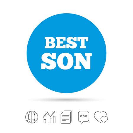 最高の息子印アイコン。賞のシンボル。ファイルのコピー、音声バブルとグラフ web アイコンをチャットします。ベクトル