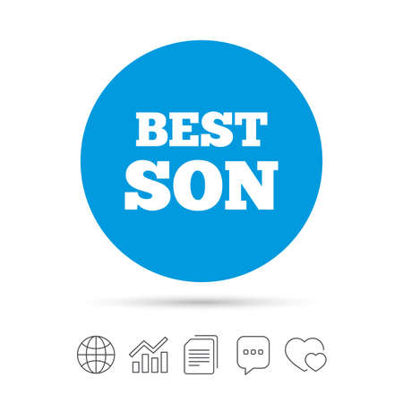Best son sign icon. Award symbol. Copy files, chat speech bubble and chart web icons. Vector