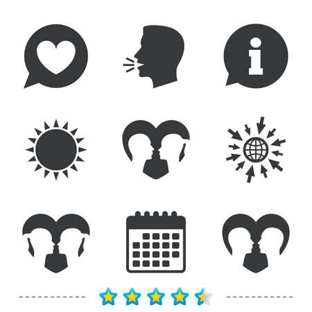 Couple love icon. Lesbian and Gay lovers signs. Romantic homosexual relationships. Speech bubble with heart symbol. Information, go to web and calendar icons. Sun and loud speak symbol. Vector Illustration
