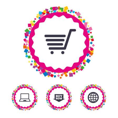 紙吹雪部分と web ボタンです。オンライン ショッピングのアイコン。ノート pc、ショッピングカート、今矢印とインターネットの兆候を購入します  イラスト・ベクター素材