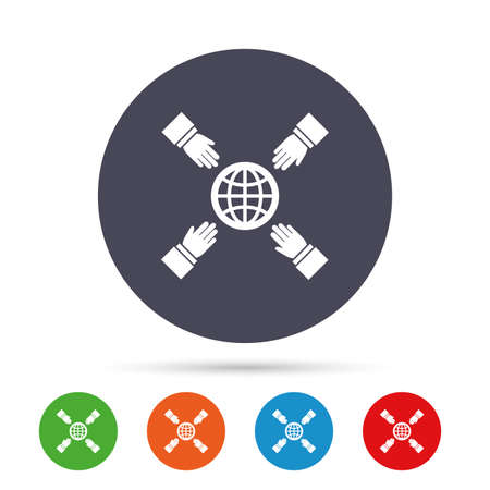 Hands reach for earth sign icon. Save planet symbol. Round colourful buttons with flat icons. Vector